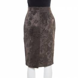 Gianfranco Ferre Vintage Grey Textured High Waist Pencil Skirt L 177311