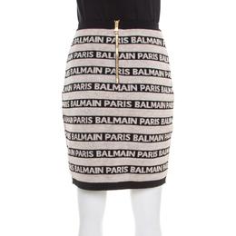 Balmain Beige and Black Jacquard Logo Knit Striped Bodycon Skirt M 181459