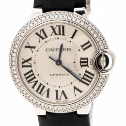 Cartier Silver Opaline 18K White Gold Diamonds Ballon Bleu 3004 Women's Wristwatch 36 mm 204597