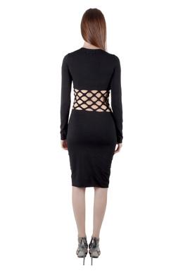 Jean Paul Gaultier Soleil Black Cotton Jersey Distressed Waist Bodycon Dress S 203598