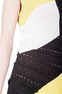 Catherine Malandrino Colorblock Paneled Pointelle Knit Sleeveless Bodycon Dress S 204866