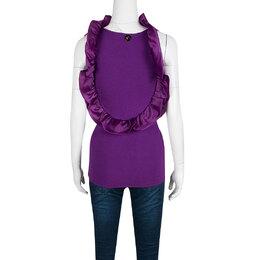 Roberto Cavalli Class Purple Knit Ruffle Trim Sleeveless Top S 139304