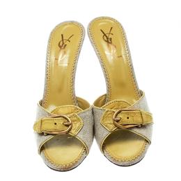 Saint Laurent Paris Lime Green/Beige Leather and Canvas Buckle Details Slide Sandals Size 41 Charlotte Olympia 176381