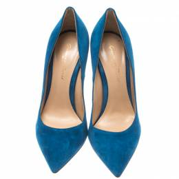 Gianvito Rossi Blue Suede Pointed Toe Pumps Size 36 185910