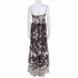 Notte By Marches Black Floral Embroidered Tulle Sequined Strapless Gown L Marchesa Notte 185882