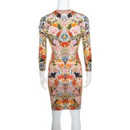 Alexander McQueen Floral Printed Jersey Cutout Sleeve Detail Bodycon Dress S 159927