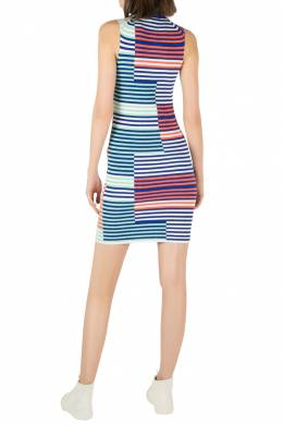 Kenzo Multicolor Rib Knit Striped Sleeveless Bodycon Dress M 206123