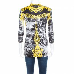 Roberto Cavalli Class Black and Yellow Baroque Floral Print Cowl Neck Top S 197403