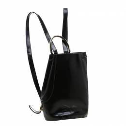 Salvatore Ferragamo Black Patent Leather Backpack 197415