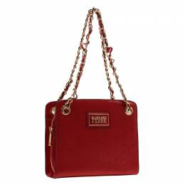 Gianfranco Ferre Red Patent Leather Chain Shoulder Bag 197380