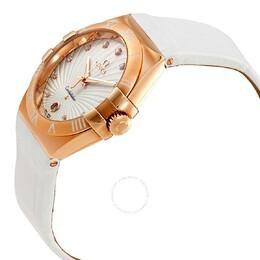 Omega White 18K Rose Gold Constellation Women's Wristwatch 35MM 152804