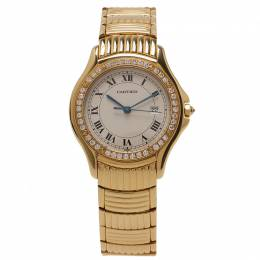 Cartier White 18K Yellow Gold and Diamonds Cougar Women's Wristwatch 30MM 51194