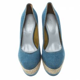 Sergio Rossi Blue Canvas Platform Espadrille Wedge Sandals Size 36 166461