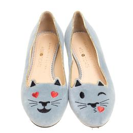 Charlotte Olympia Grey Velvet Emoticats Cheeky Kitty Flats Size 38 155083