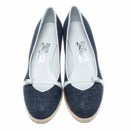 Salvatore Ferragamo Blue Denim Finish Suede Audrey Wedge Espadrille Pumps Size 39.5 152895