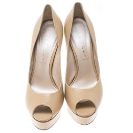 Casadei Beige Leather Peep Toe Platform Pumps Size 39 150784