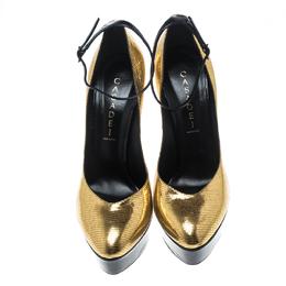 Casadei Metallic Embossed Gold Leather Ankle Strap Platform Pumps Size 39 150788