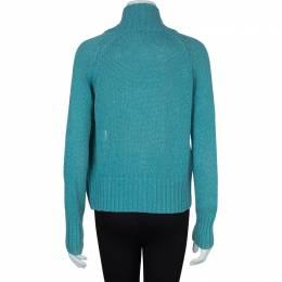 Loro Piana Turquoise Blue Zip Front Cardigan S 59681