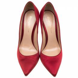 Gianvito Rossi Red Satin Pointed Toe Pumps Size 37 184296
