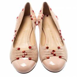 Charlotte Olympia Beige Suede And Patent Leather Embellished Manipedi Ballet Flats 37 193277