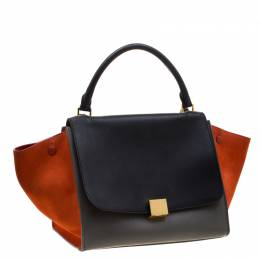 Celine Tricolor Leather and Suede Medium Trapeze Tote 208790