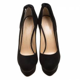 Charlotte Olympia Black Suede Dolly Platform Pumps Size 41 135866