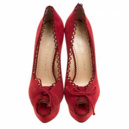 Charlotte Olympia Red Suede Daphne Scalloped Trim Peep Toe Platform Pumps Size 40.5 135243
