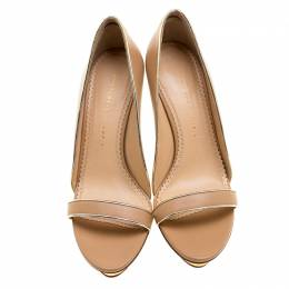 Charlotte Olympia Beige Leather Christine Open Toe Sandals Size 41 135908