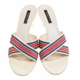 Sergio Rossi Multicolor Fabric and Leather Mules Size 40 133185