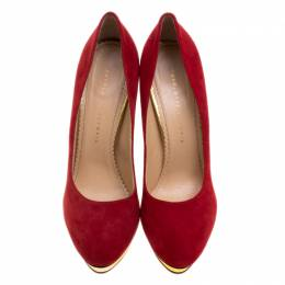 Charlotte Olympia Red Suede Dotty Platform Pumps Size 40.5 130525
