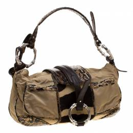 Gianfranco Ferre Beige/Brown Nylon/Python and Calfhair Satchel 194906