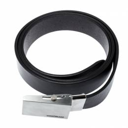 Montblanc Black Leather Military Buckle Belt 187178