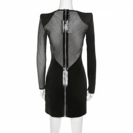 Dsquared2 Black Crepe Mesh Insert Melissa Bodycon Dress S 210372