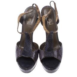 Saint Laurent Paris Multicolor Python T Strap Platform Sandals Size 40 150344