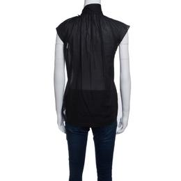 Bottega Veneta Black Sheer Cotton Neck Tie Detail Sleeveless Top S 141210