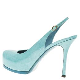Saint Laurent Paris Light Blue Patent Tribtoo Slingback Sandals Size 38.5 56685