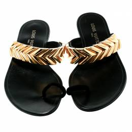 Louis Vuitton Black Embellished Suede and Leather Toe Ring Flat Sandals 37 179521