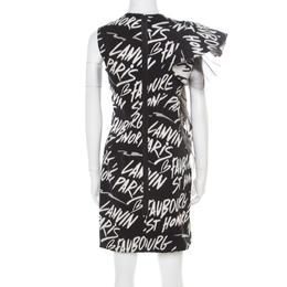 Lanvin Black Graffiti Jacquard Flounce Sleeve Detail Cocktail Dress S 181761