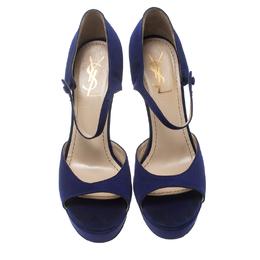 Saint Laurent Paris Purple Satin Open Toe Platform Sandals Size 38.5 157509
