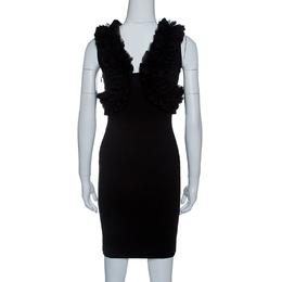 Dsquared2 Black Jersey Ruffle Trim Sleeveless Bodycon Dress S 143413