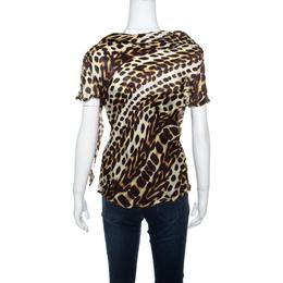 Just Cavalli Dark Brown Leopard Print Silk Draped Cowl Neck Top S 161313