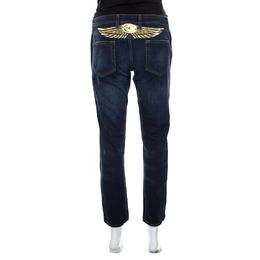 Just Cavalli Indigo Dark Wash Lurex Wings Embroidered Tapered Jeans M 161170