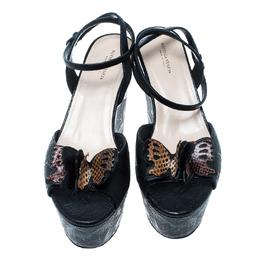 Bottega Veneta Black Leather Snakeskin Detail Butterfly Gilda Wedge Sandals Size 40 164262
