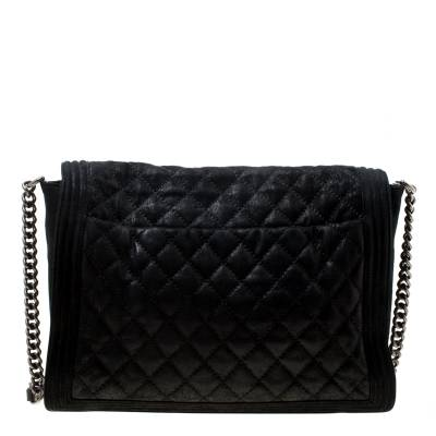 Chanel Black Quilted iridescent Leather XL Gentle Boy Flap Bag 177061 - 3