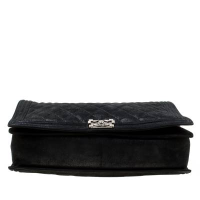 Chanel Black Quilted iridescent Leather XL Gentle Boy Flap Bag 177061 - 5