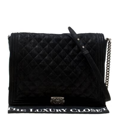 Chanel Black Quilted iridescent Leather XL Gentle Boy Flap Bag 177061 - 9