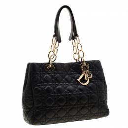 Dior Black Cannage Leather Small Soft Lady Dior Tote 204889