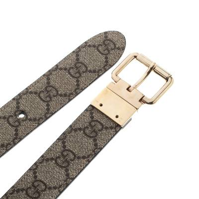 Gucci Beige/Black GG Canvas and Leather Reversible Belt 209492 - 3