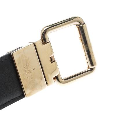 Gucci Beige/Black GG Canvas and Leather Reversible Belt 209492 - 5