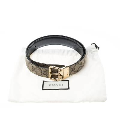 Gucci Beige/Black GG Canvas and Leather Reversible Belt 209492 - 6